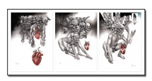Skulduggery Triptych_2014_charcoal and pastel_drawing_on paper_mixed media_framed triptych
