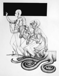 Slackass Rising_2005_charcoal_drawing_on board_male_nude_figure_artist