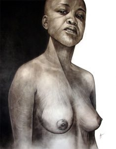 Tsvarakadenga_2007_charcoal_drawing_on board_african_female_nude_figure