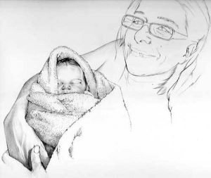 newborn_family_charcoal_portrait_drawing
