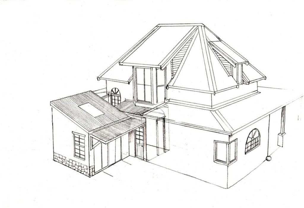 Hilltop house 1 house design layout perspective elevation graphite 2