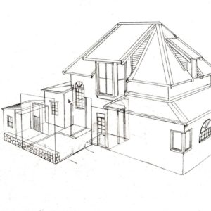Hilltop house 2 design layout perspective elevation graphite 2