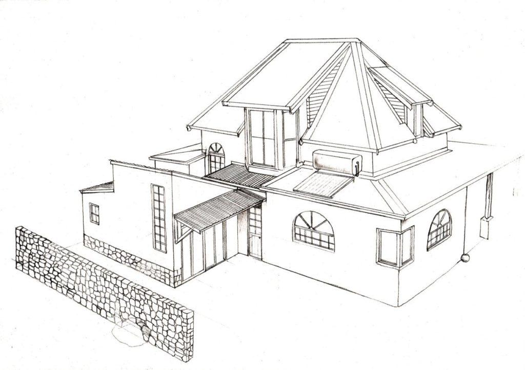 Hilltop house 3 design layout perspective elevation graphite 2