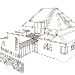 Hilltop house 3 design layout perspective elevation graphite 2