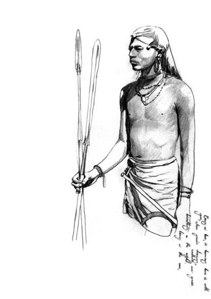 Masai warrior tribal man hunter graphite book 2