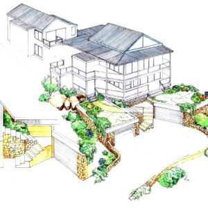 Scarborough house renovation design layout perspective elevation graphite 2