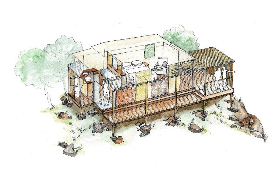 Victoria Falls chalet lodge camping house design layout perspective elevation graphite 2