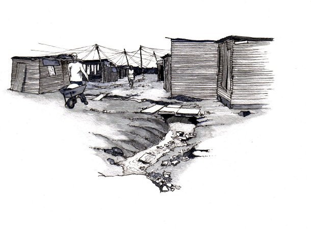 African township homes sanitation black and white greyscale book 2