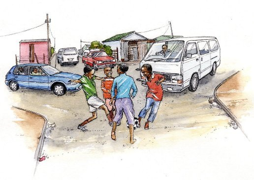 African township street life kids soccer taxi vehicles book 2
