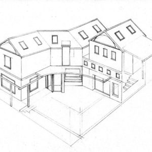 Courtyard 1 house design layout perspective elevation graphite 2