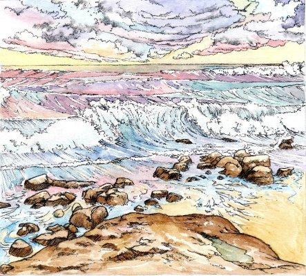 Ocean beach rocks waves sky book 2