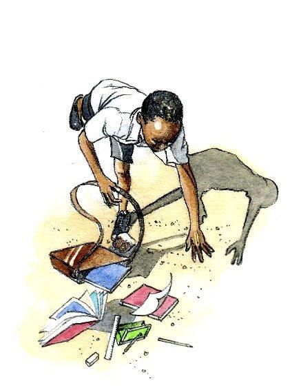 School child tripping schoolbag book 2