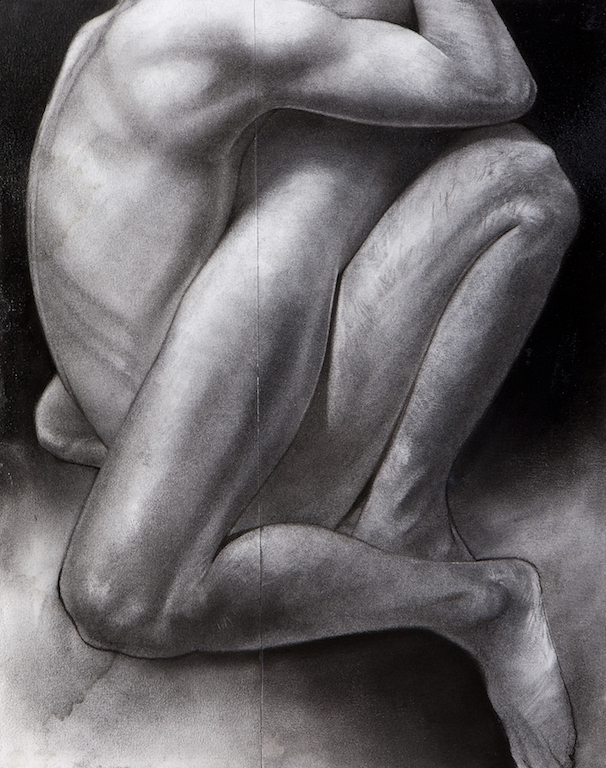 Block 49 Embrace mixed media charcoal drawing acrylic painting female male lovers nude study figurative