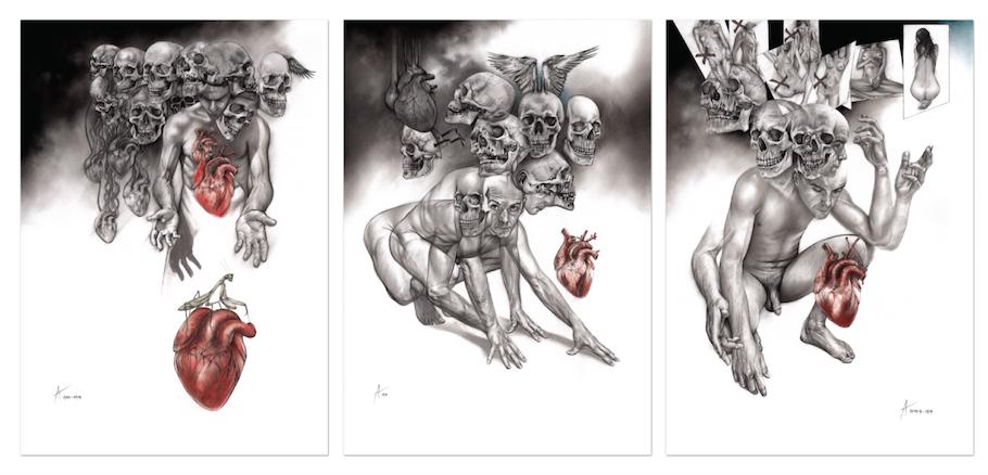 Skulduggery series 2014 framed triptych